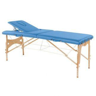Foldbar træmassagebord - 2 sektioner - 182x70 cm - Justerbar højde/ryglæn