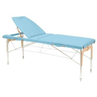Foldbar massagebord (Alu) - 2 sektioner - 182x70 cm - Stort ryglæn