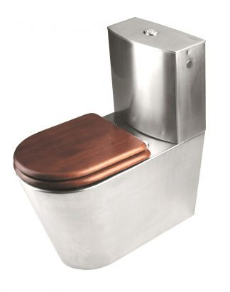 Toilet lavet af rustfri stål med sæde lavet af brunt lakeret træ