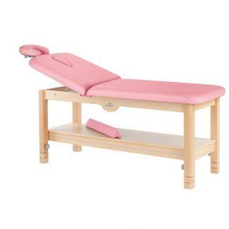 Stationær behandlingsbord - 2 sektioner med træbase - Justerbart ryglæn - Opbevaring