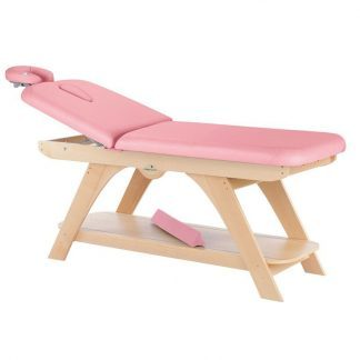 Stationær behandlingsbord - 2 sektioner med træbase - Justerbart ryglæn - Ansigtspude