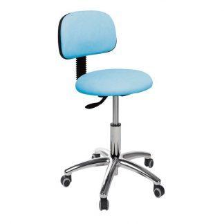 Rund stol med ryglæn og base lavet af krom