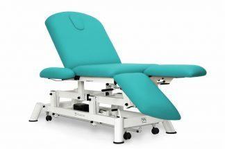 Elektrisk behandlingsbord - 3 sektioner - Individuelle benstøtter - Armlæn - Hjul