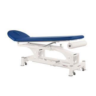 Hydraulisk behandlingsbord - 2 sektioner - Negativ hældning - Halvmåne hovedstøtte