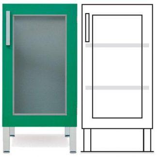 Gulvskab - ISO-modul - 1 glasvæg og 2 justerbare hylder
