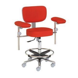 Kirurgisk stol med fodstøtte og armlæn - Aluminium base