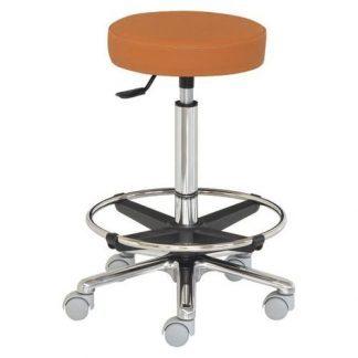 Rund stol med fodstøtte - Flad overflade - Aluminium base