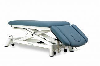 Elektrisk behandlingsbord til osteopati - 2 sektioner med armlæn og hjul - Sakselift