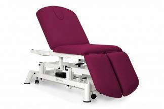 Elektrisk behandlingsbord - 3 sektioner med hjul - Individuelle benstøtter - Åndehul