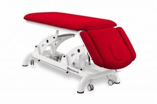 Elektrisk behandlingsbord til osteopati - 2 sektioner med armlæn og hjul - Tvillinge Søjle