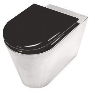 Rustfri stål toilet med toiletsæde I sortmalet træ