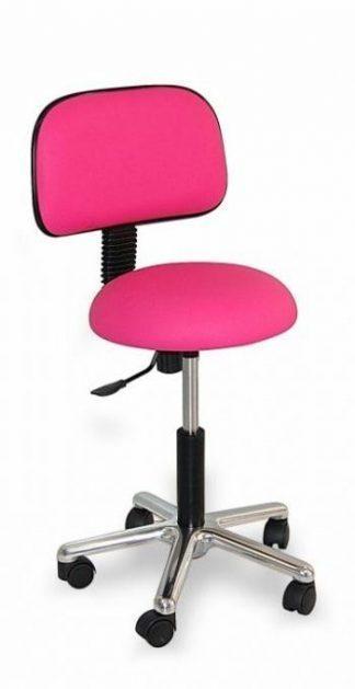 Rund stol med ryglæn - Base lavet af krom
